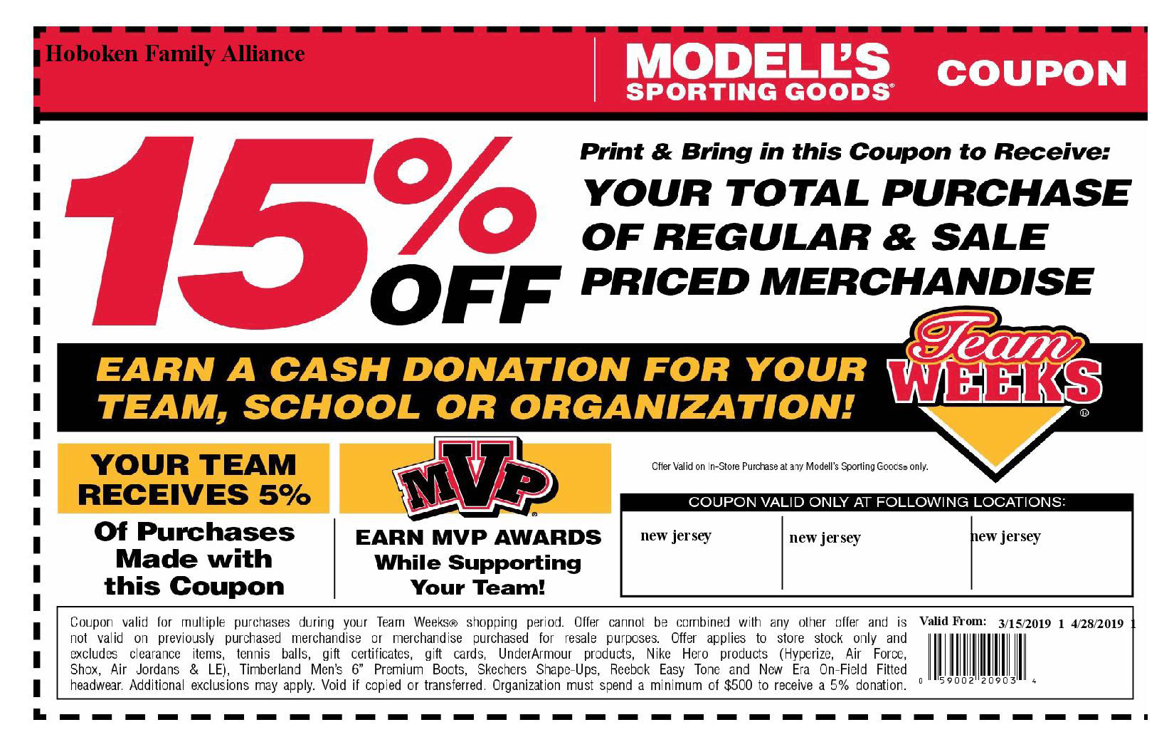 photo about Modell Printable Coupons identify HFA / Modells Spring Staff Months until finally 4/28/19 - Hoboken